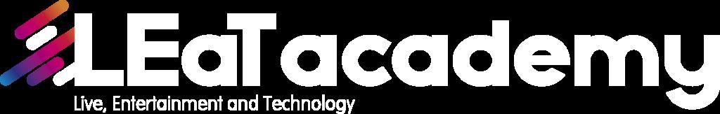 LEaT academy Logo mit Claim weiss neu